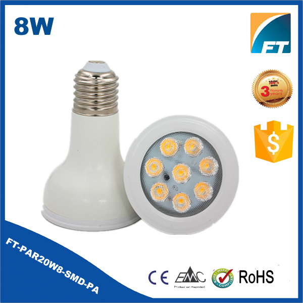 ERP 6000K CRI>90 SMD 25 DEGREE AC110V DIMMABLE 8W E26 par30 led bulbs