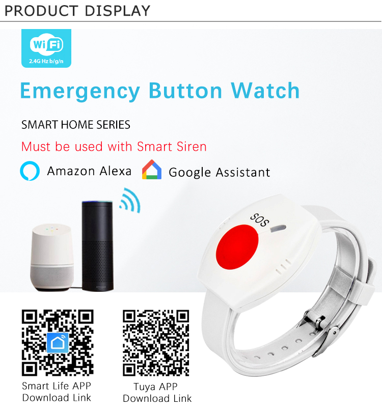 Tuya Smart Home Security Device Button Type Emergency Alarm Radio Frequency Bracelet Watch For Children