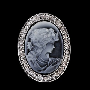 YZ-23 Aliexpress Pave Diamond Jewelry Manufacturer Vintage Silver Crystal Cameo Brooch Pin
