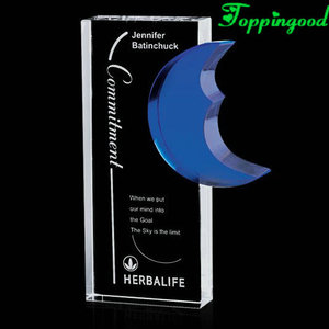 Deep Blue Crescent Moon Crystal Trophy For Business Reward