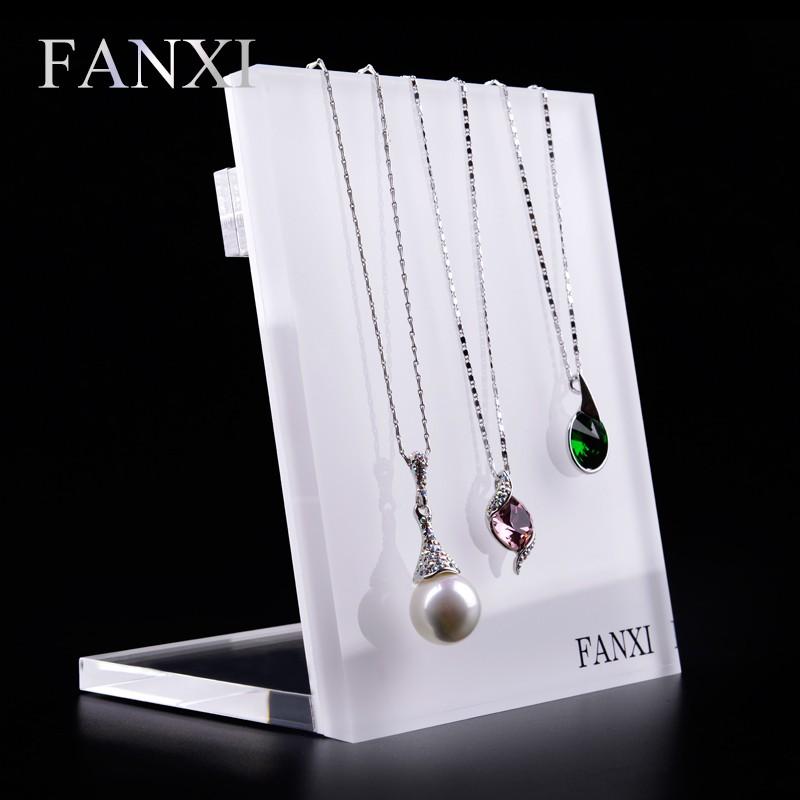 FANXI China Supplier Fashion Organic Glass Jewelry Necklace Holder Display Shelf Stand Shop Organizer Rack Acrylic Display Board, White or customized color for acrylic display board