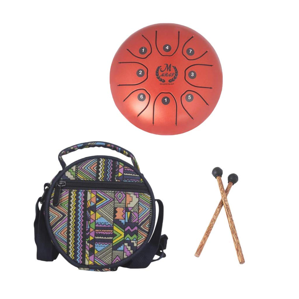 B Blesiya Mini 8 Note Handpan Tongue Drum Drum Mallets Bag for Children Gift 5.5inch - Red