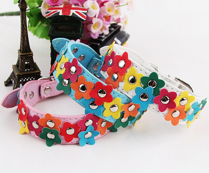New 3 Rows Colorful Flower Studded Pu Leather Dog Pet Collar in Black / Pink