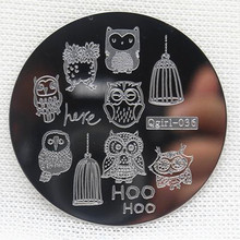 1PC Qgirl36 Series Nail Art Stamping Plates Owl Image Templates Stamper Scraper Steel Polish Konad Nail