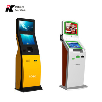 2017 new design smart automatic payment kiosk / hotel check in kiosk with cash acceptor and card dispenser