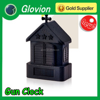 New design gun shooting alarm clock laser gun target alarm clock battery powered alarm clock