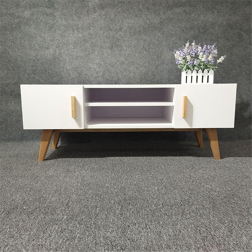 blanc moderne pas cher meuble tv avec pied en bois massif. Black Bedroom Furniture Sets. Home Design Ideas