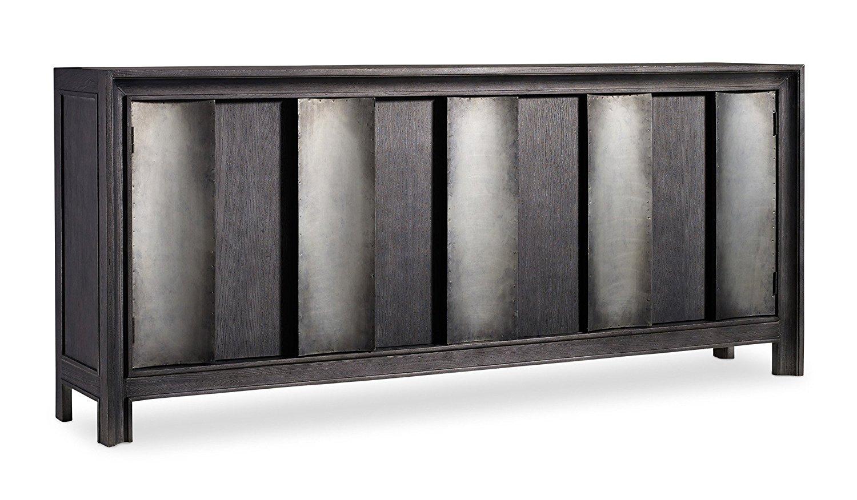 Hooker Furniture Melange 3 Door Channeled Console In Dark Wood And Aluminum