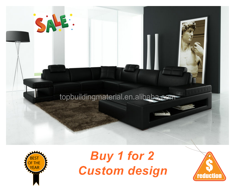 Modern real leather section black <strong>sofa</strong>