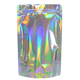 custom zipper plastic mylar aluminum foil ziplock packaging silver hologram laser holographic stand up zip pouch bag for food