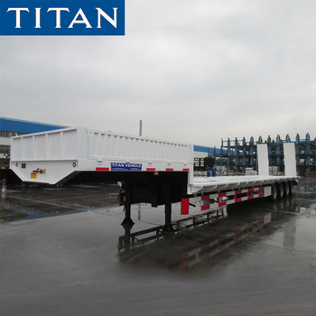 Carry caterpillar construction equipment low platform tri-axle 4 axles 5 axles 130 tons lowbed semi trailer with side wall