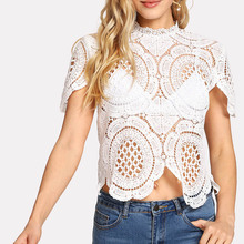 New design ladies Lace Asymmetrical Hem Crop Top
