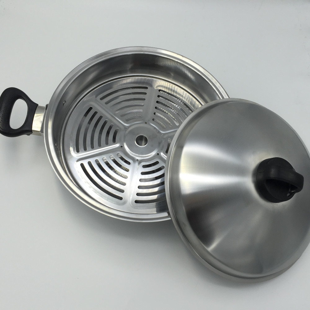 China manufacturer multifunctional stainless steel korean wok with steamer