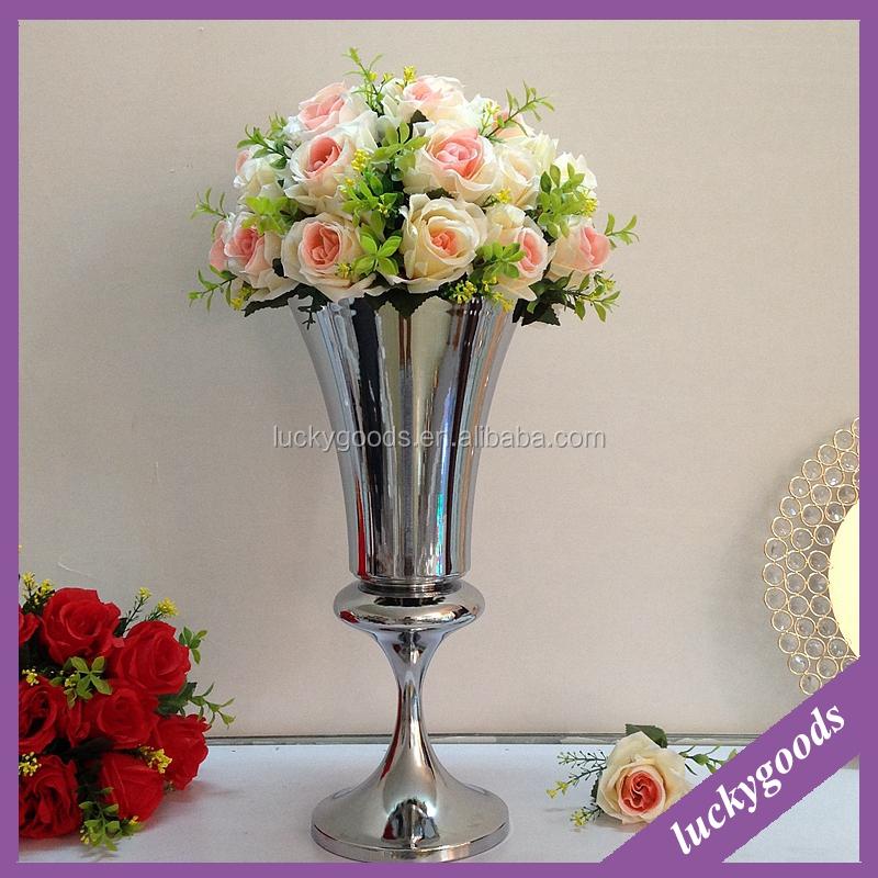 Ldj513 Silver Trumpet Wedding Centerpiece Vases For Wedding And