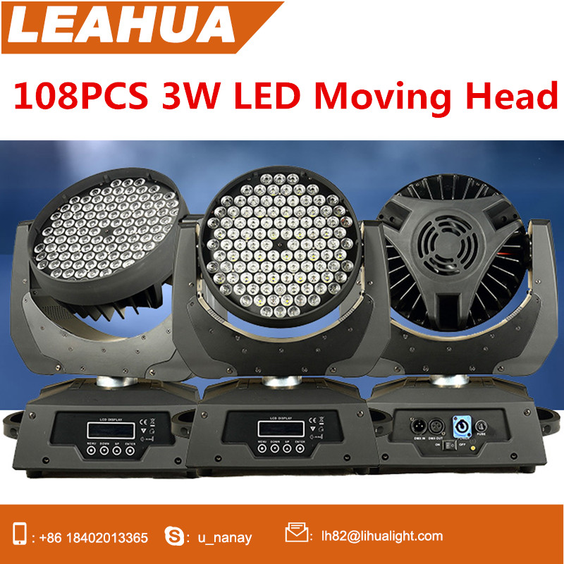 High Brightness 108PCS 3W LED Moving Head Stage Wash Led Effective For Night Club
