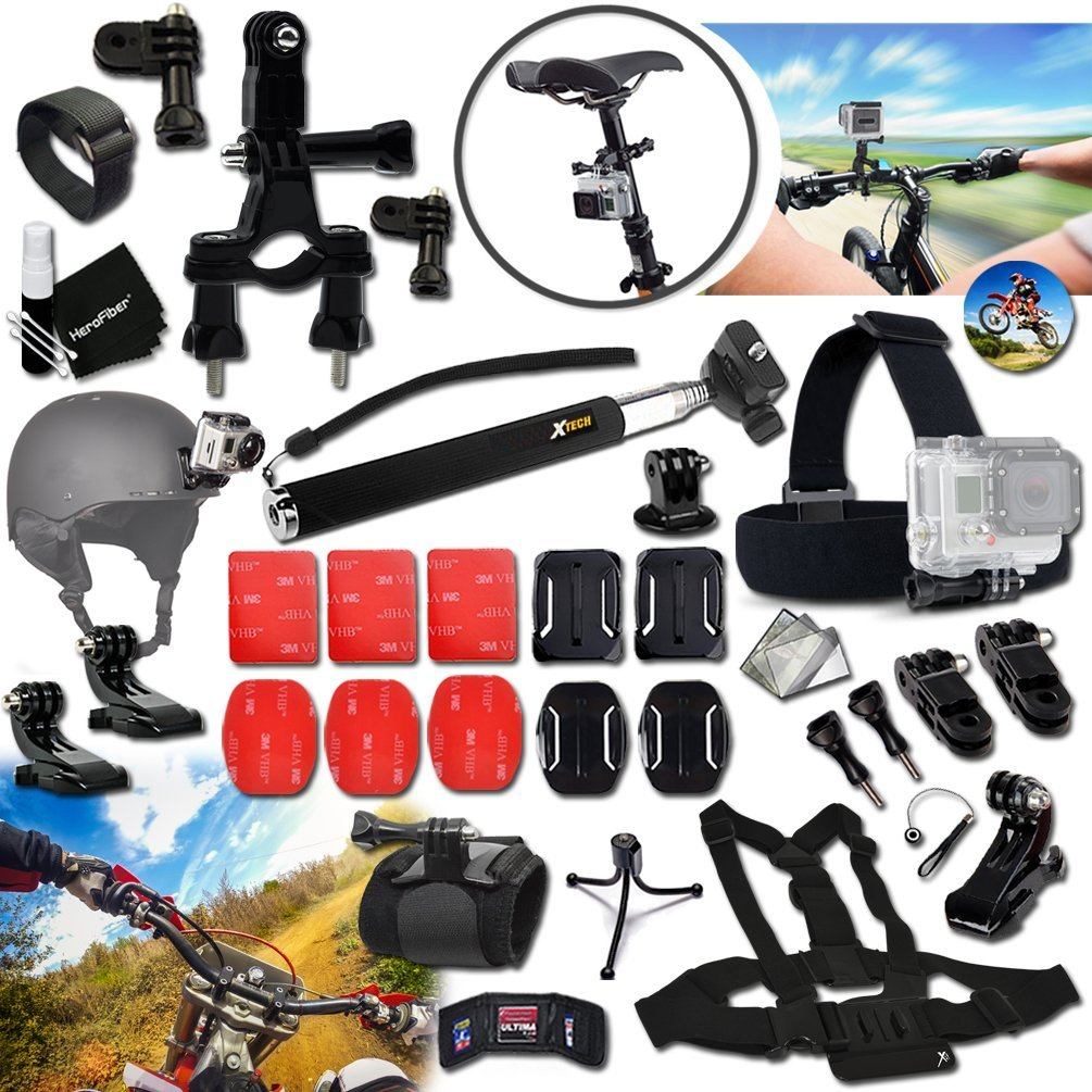 Xtech® DIRT BIKE ACCESSORIES Kit for GoPro Hero 4 3+ 3 2 1 Hero4 Hero3 Hero2, Hero 4 Silver, Hero 4 Black, Hero 3+ Hero3+ and for Bike Riding, Biking, Racing, Dirt Bikes, Dirt Track Racing, Motorcycle Racing, Rallying and other Similar Sports Activities Includes: BIKE MOUNT + Helmet Harness Mount +