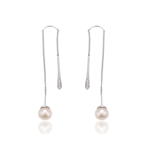 E-469 Xuping China goods online selling precious pearl noble long chain rhodium gold plated earring
