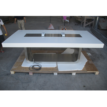 Multicolors Free Installation Corian Top Steel Leg Conference Table - Conference table cable management
