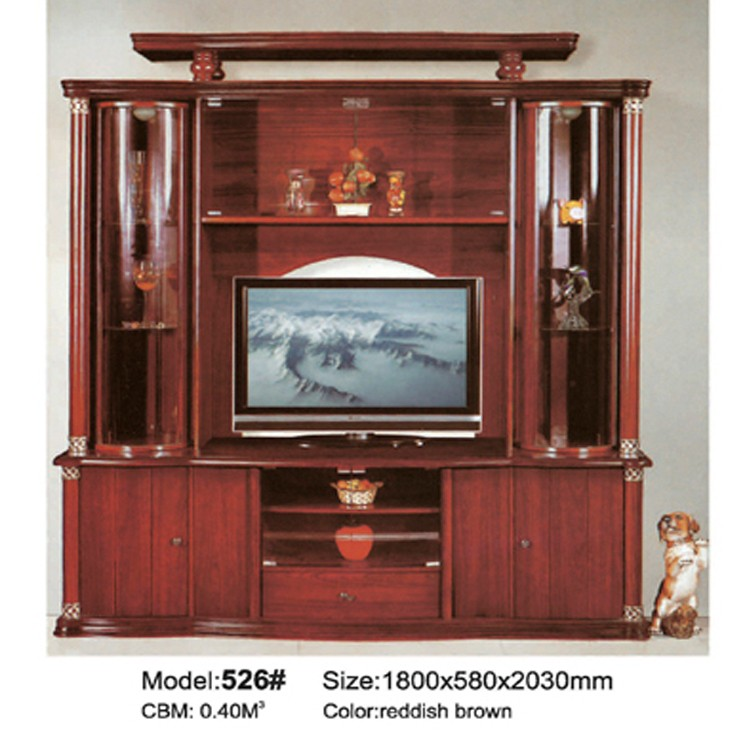 Wooden Tv Stand With Showcase 526 Simple Mdf Wall Unit