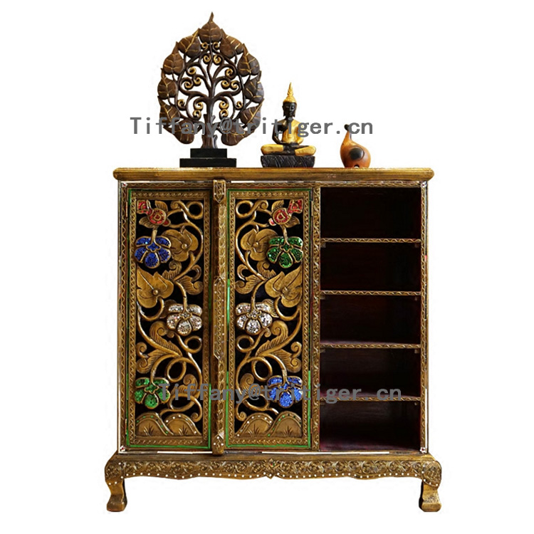luxury furniture wooden furniture designs Thailand Antique Style Corner Shoes <strong>Cabinet</strong>