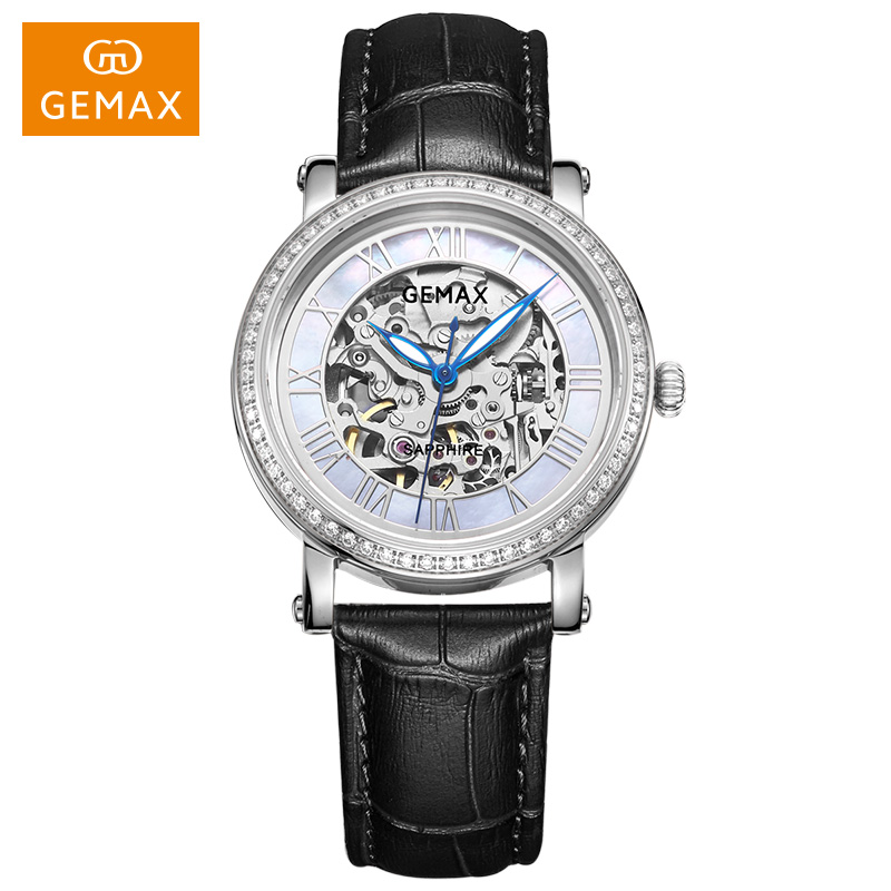 Skeleton hollow out design Japan Mechanical Movement Wristwatches Automatic women Watches