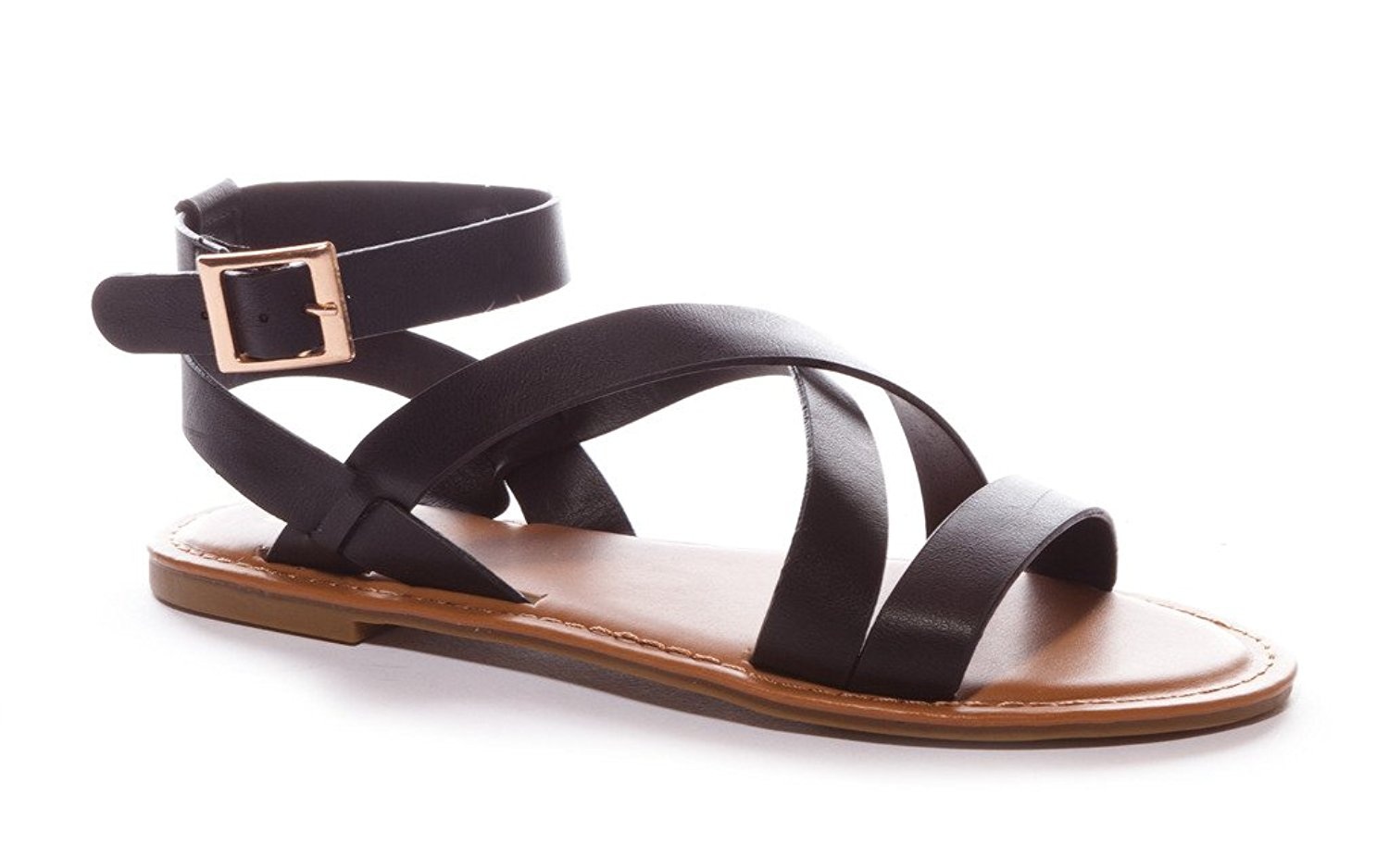50c30fda20a7 Get Quotations · Bamboo Women s Strappy Gladiator Ankle Wrap Flat Sandal
