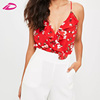 Summer Womens Crop Strappy Red Printed floral wrap bodysuit Open Back Tank Top
