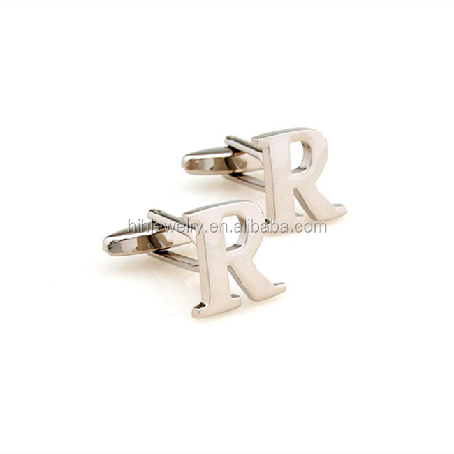 Fancy custom design personal alphabet letter R design silver plated cufflinks for men