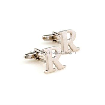 fancy custom design personal alphabet letter r design silver plated cufflinks for men