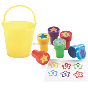 2017 Promotional Toy Mini Plastic Yellow Pail Filled with Star Stampers Cheap Self Inking Stamp with Rubber Stamps For Kids