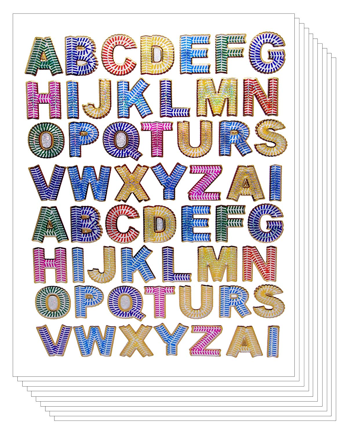 A to Z Colorful Decorative Stickers - Primary Alphabet Letters Label (PACK OF 10 sheets, Assorted Color)