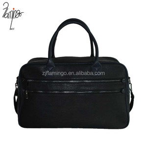 United Kindom fashionable double zipper black PU leather holdall bags travelling bag