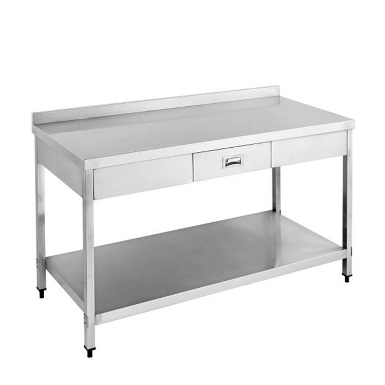 S053 Stainless Steel Cooling Table With Drawer & Splash Back-With Under Shelf(Square ture)