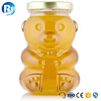 Wholesale 280ml Wide Mouth Empty Bear Shape Airtight Glass Honey Jar