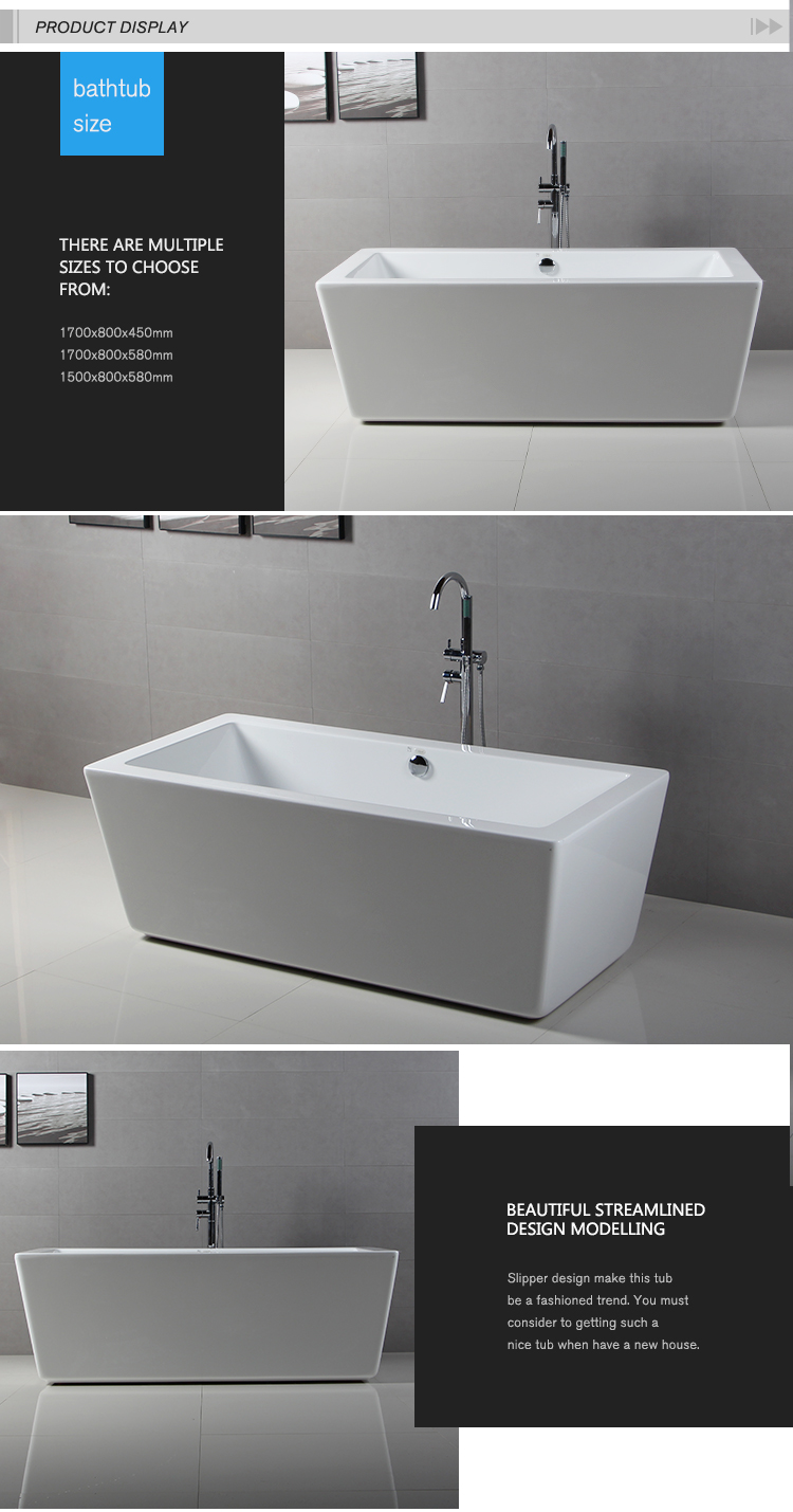 Acrylic Lacquer Square Free-standing Bathtub Sizes Wtm- 02108 - Buy ...