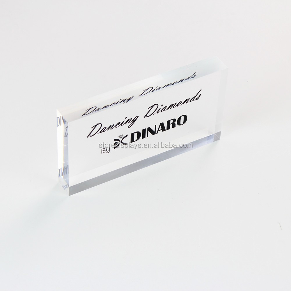 Custom Wholesale Engraved Blank Perspex Acrylic Table Name Plate,  Plexiglass Lucite Desk Nameplate