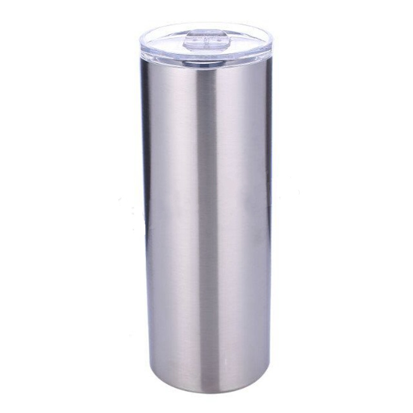 Vacuum Water Bottle Insulated Double Wall Cup Stainless Steel Skinny Tumbler with Straw