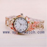 Newest Design Alibaba China Express Trendy Floral Flower Print Lady Watch