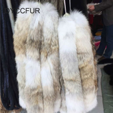 factory wholesale 55cm long detachable natural color real coyote fur collar trimming for jacket hood