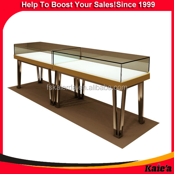 gold stainless steel jewelry display cabinet design