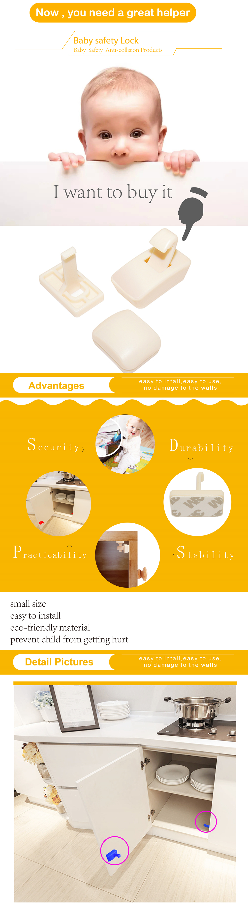 Popular Calish Child Safety Cupboard Locks For Cabinet