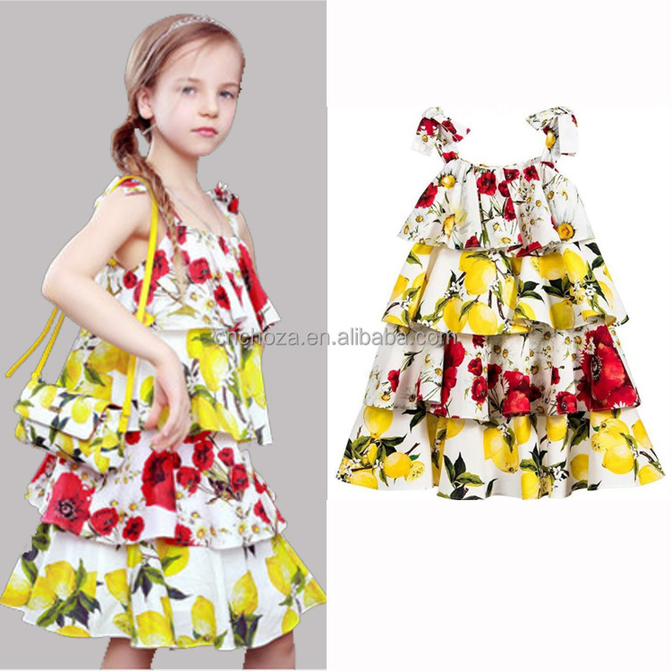 Z90364B Newest stylish brief lovely cotton lemon flower print girl dresses with straps for baby girls