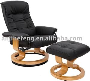 Remarkable Pu Swivel Bentwood Recliner Chair With Ottoman Ncnpc Chair Design For Home Ncnpcorg