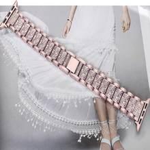 Для женщин Роскошные сплав ремешок алмазы для наручных часов Apple Watch 4/3/2/1 розовое золото мужской браслет для наручных часов iWatch 38 мм 42 мм пода...(Китай)