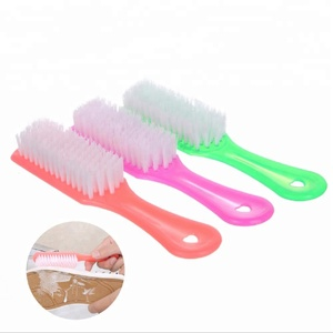 Multi-purpose transparent household plastic long handle soft shoe brush laundry brush with hanging hole