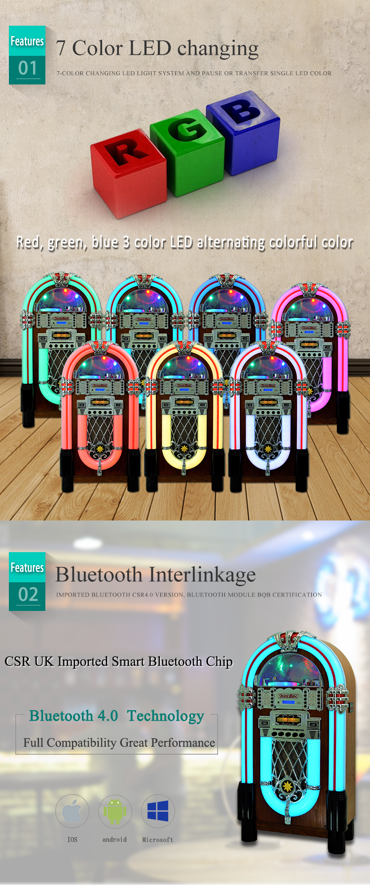 Home audio wurlitzer jukebox Retro Standing Digital CD Bluetooth