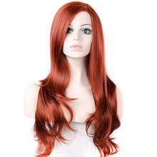 Big wave female elegant wig Fashion synthetic hair wave wigs Long curly Big wave Wine red High quality