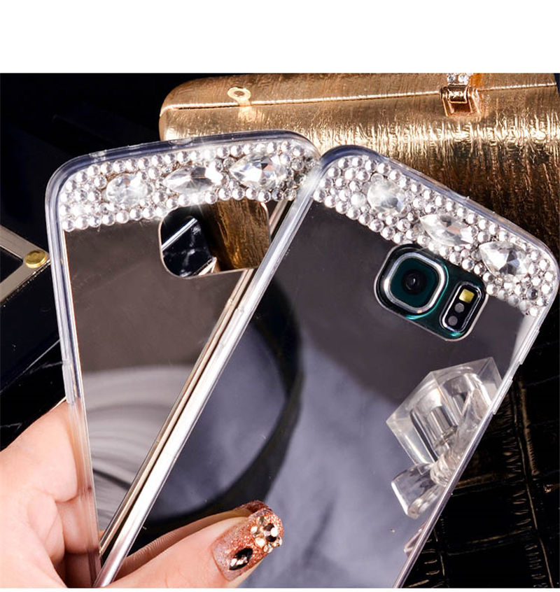 For <strong>Samsung</strong> Galaxy J7 2016 S7 <strong>Edge</strong> <strong>S6</strong> A5 A7 Grand Prime Mirror <strong>Case</strong> Cover Soft TPU Bling Rhinestone Diamond Phone <strong>Cases</strong>