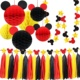 MickeyMouse Party Decoration Kit Colorful Honeycomb Balls Red Yellow Black Tassel Garland Tissue Felt Banner Kids Birthday Ideas