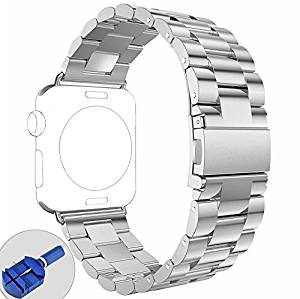 Apple Watch Band, No1seller Premium Solid Stainless Steel Apple Watch Band Strap Wrist Band Unique Polishing Business Replacement for Apple Watch Series 1, Series 2